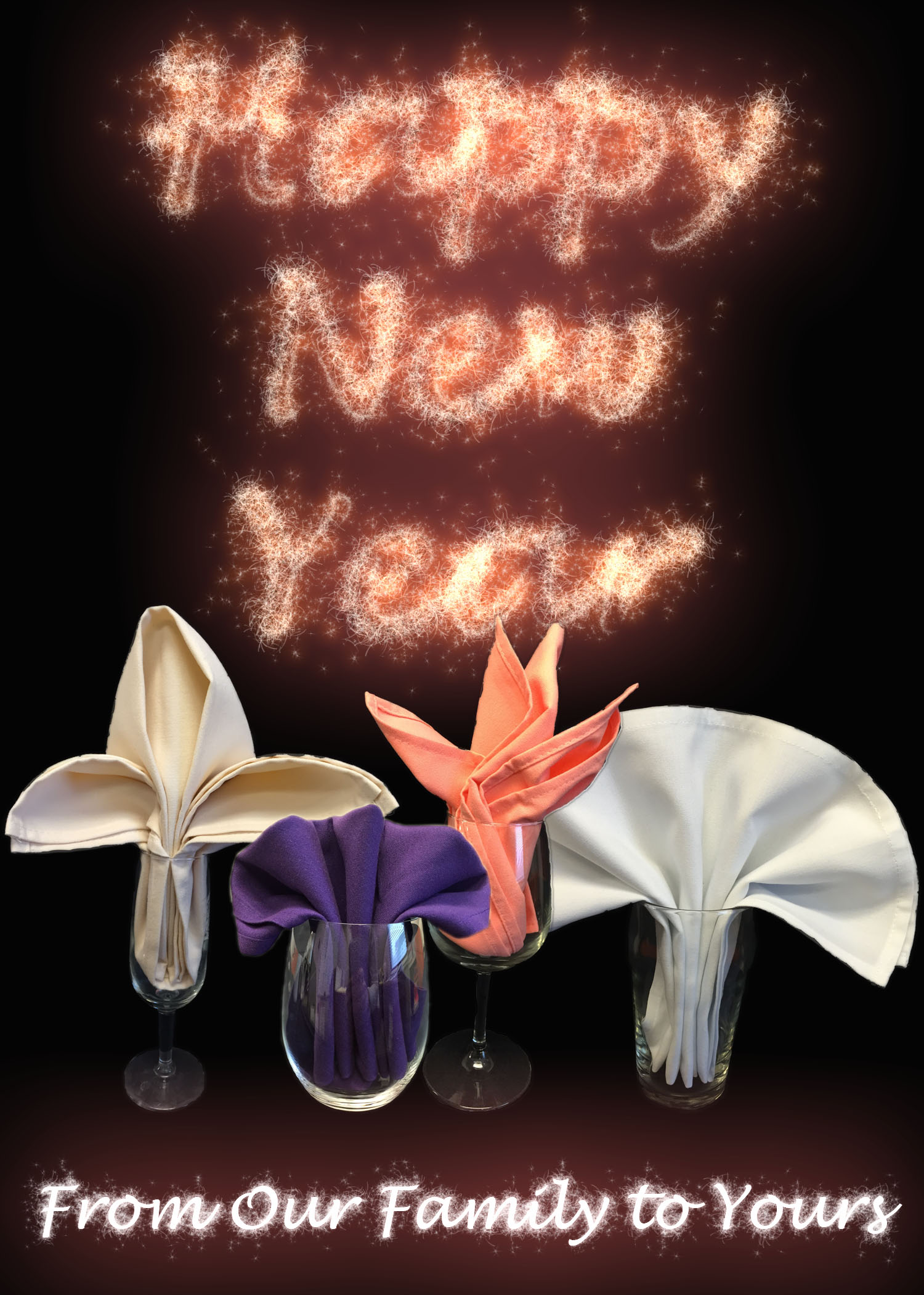 happy new year napkin folds